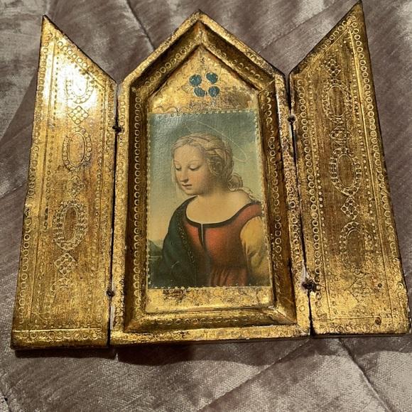 Virgin Mary Small Gold Leaf Triptych